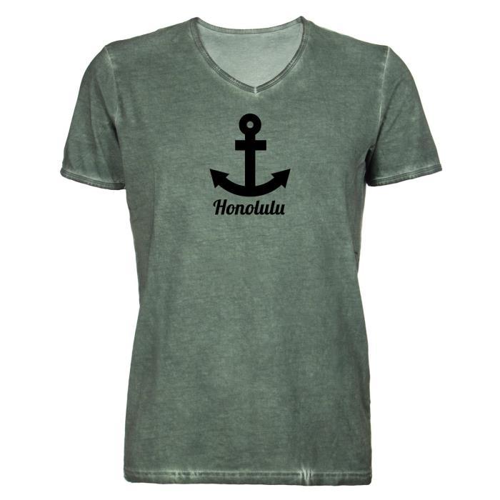 Damen-T-Shirt-V-Ausschnitt-Istanbul-Anker-Tuerkei-Turkey-Urlaub